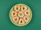 Cookies with glaze on a plate — Stock Photo