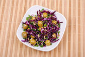 Fresh salad from vegetables on a plate — Stock Photo