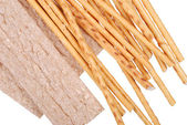 Salted breadsticks isolated on white — Stock Photo