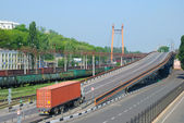 Transportation of cargoes by rail and lorry — ストック写真