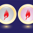 Vector buttons with burning safety match icon — Stock Vector #12115267