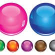 Vector collection of buttons in various colors — Stock Vector #12115356
