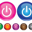 Vector icons with power off sign — Stock Vector