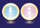 Vector icons with man and woman silhouette — Stock Vector
