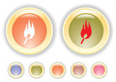 Vector buttons with burning safety match icon — Stock Vector