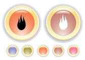Vector icons with burning flame icon — Stock Vector