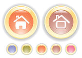 Vector buttons with house icon — Stock Vector