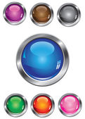 Vector collection of buttons in various colors — Stock Vector