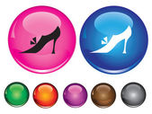 Vector icons with sign of woman shoe — Stock Vector