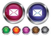 Vector iconos colección con signo de correo, botón vacío incluido — Vector de stock