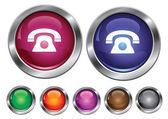 矢量集合与电话标志,包括空按钮图标 — 图库矢量图片