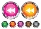 Vector collection icons with rewind sign, empty button included — Stock Vector
