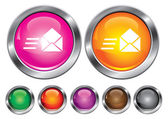 Vector icons collection avec signe de courrier de vitesse, bouton vide inclu — Vecteur