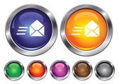 Vector iconos colección con señal de velocidad correo, botón vacío inclu — Vector de stock