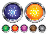 Vector collection icons with sun sign, empty button included — Stock Vector