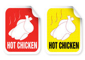 Label with a roast chicken illustration — Stock Vector