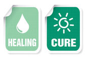 Label with a text: healing, cure — Stock Vector