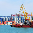 Port warehouse with cargoes and containers — Stock Photo