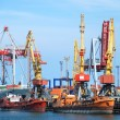 The trading seaport with cranes, cargoes and ship — Stock Photo #12120109