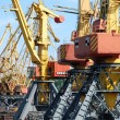 Stock Photo: The trading seaport with cranes and ships