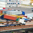 Port warehouse with cargoes and containers — Stockfoto