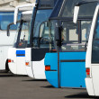 Tourist buses on a parking — Stock Photo