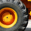 The big new yellow wheel — Stock Photo