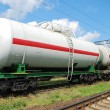 Stock Photo: Oil transportation in tanks by rail