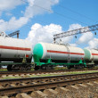 Oil transportation in tanks by rail — Stock Photo
