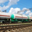 Oil transportation in tanks by rail - Stock Photo
