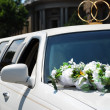 White wedding car with flowers — Stock Photo #12120574