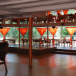Interior of a summer open-air cafe — Stock Photo