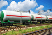 White tank cars — Stock Photo