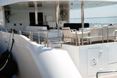 Interior of white yacht on an anchor — Stock Photo