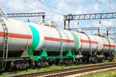 The tank is transported by rail — Stock Photo