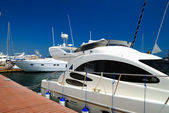 White yachts on an anchor — Stock Photo