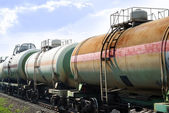 Railway tanks for mineral oil — Stock Photo