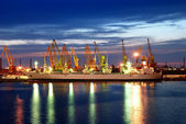 Ship and port at night — Stock Photo