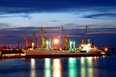Night view. ship moored in the port — Stock Photo