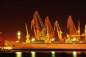 Entrepôt portuaire avec des cargaisons et des conteneurs — Photo