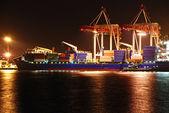 Armazém portuário com cargas e contentores — Foto Stock