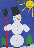 Muñeco de nieve. niños de papel apliques. — Foto de Stock