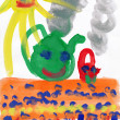 Stock Photo: Children's drawing water color paints on paper. Smiling sun, table, tea.