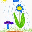 Children's drawing. rain waters the flower — Foto Stock