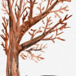 Child's drawing watercolor. Isolated autumn tree — Stock Photo