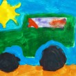 Childish watercolor paint. car and sun. — Photo