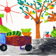 Stock Photo: Children's drawing. harvesting in the village