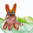 Child's drawing. Rabbit on meadow. - Stock Photo