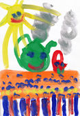 Children's drawing water color paints on a paper. Smiling sun, table, tea. — Stock Photo
