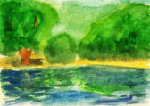 Watercolor. Green forest and lake — Stock Photo